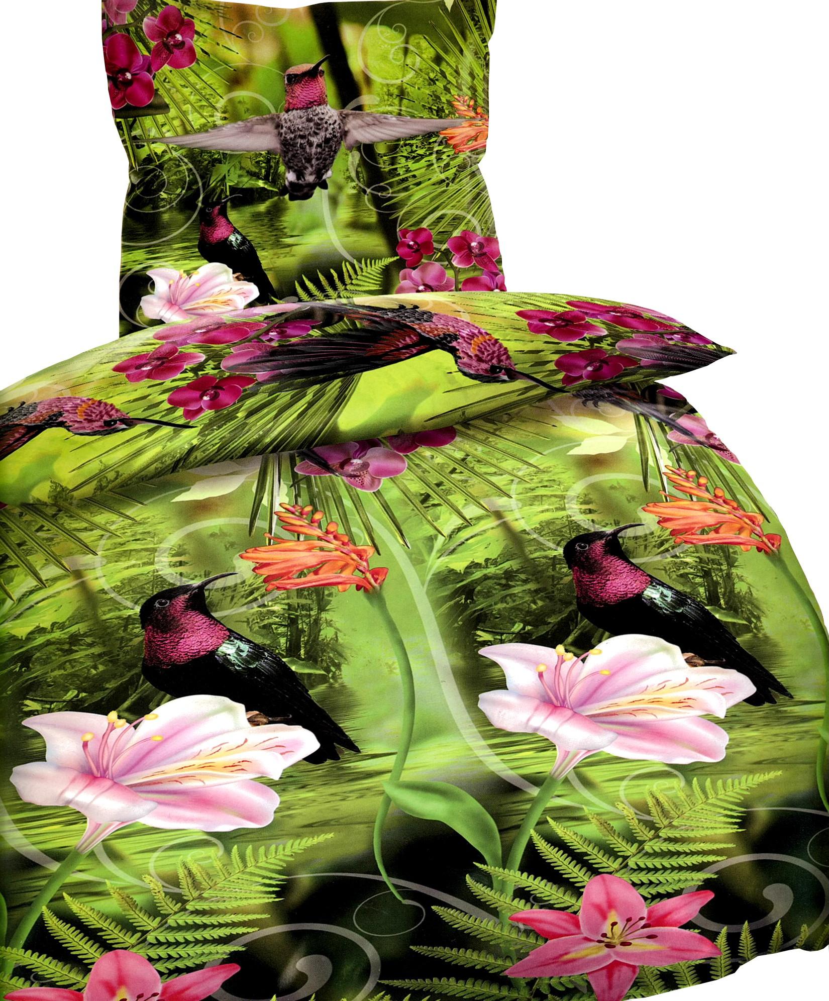 bettw sche 135x200 fotodruck dschungel vogel gr n. Black Bedroom Furniture Sets. Home Design Ideas