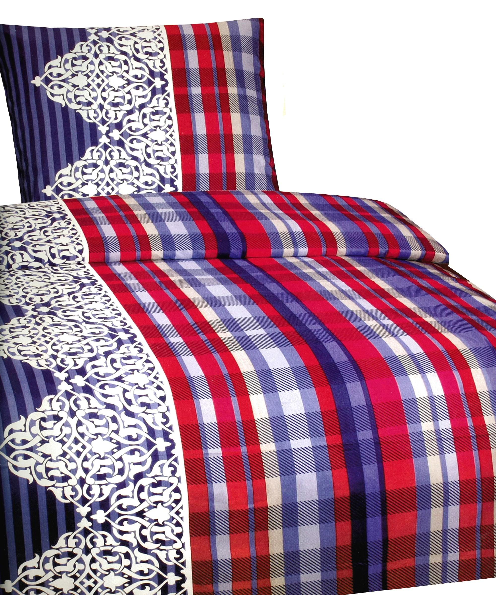 6 tlg bettw sche microfaser 135x200 cm blau rot kariert set mit bettlaken. Black Bedroom Furniture Sets. Home Design Ideas