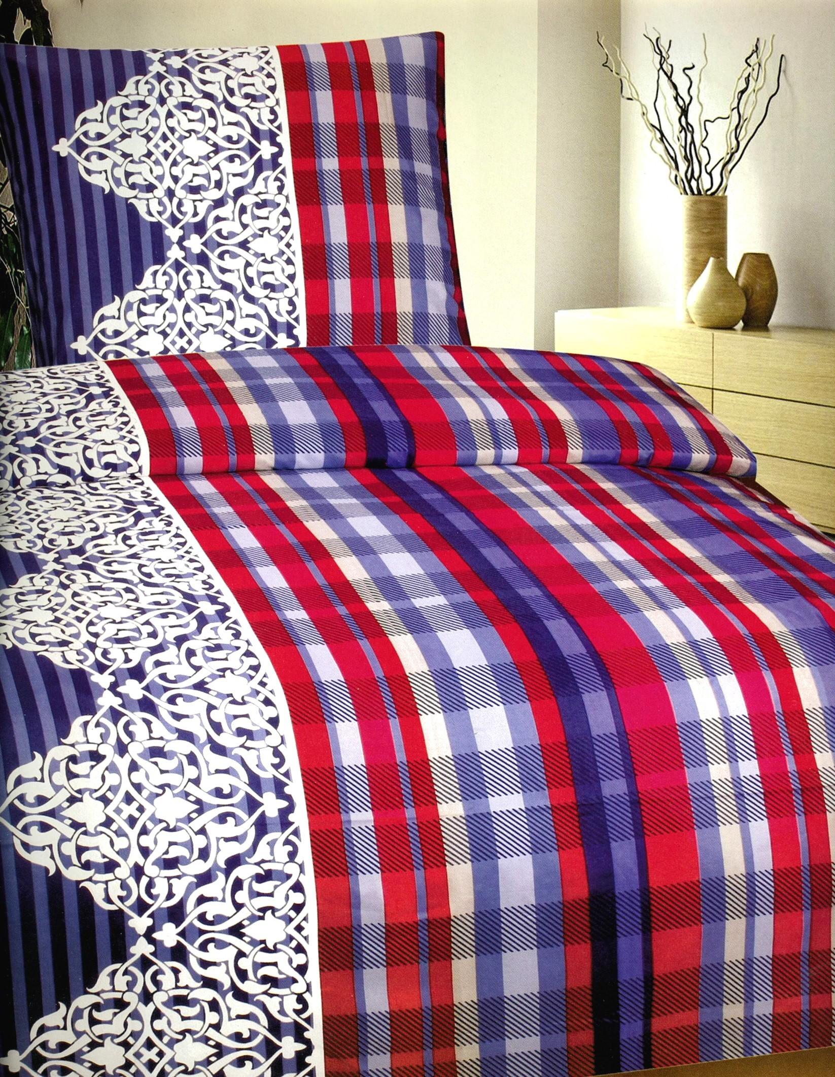 6 tlg bettw sche microfaser 135x200 cm blau rot gestreift set mit bettlaken 4260273027326 ebay. Black Bedroom Furniture Sets. Home Design Ideas