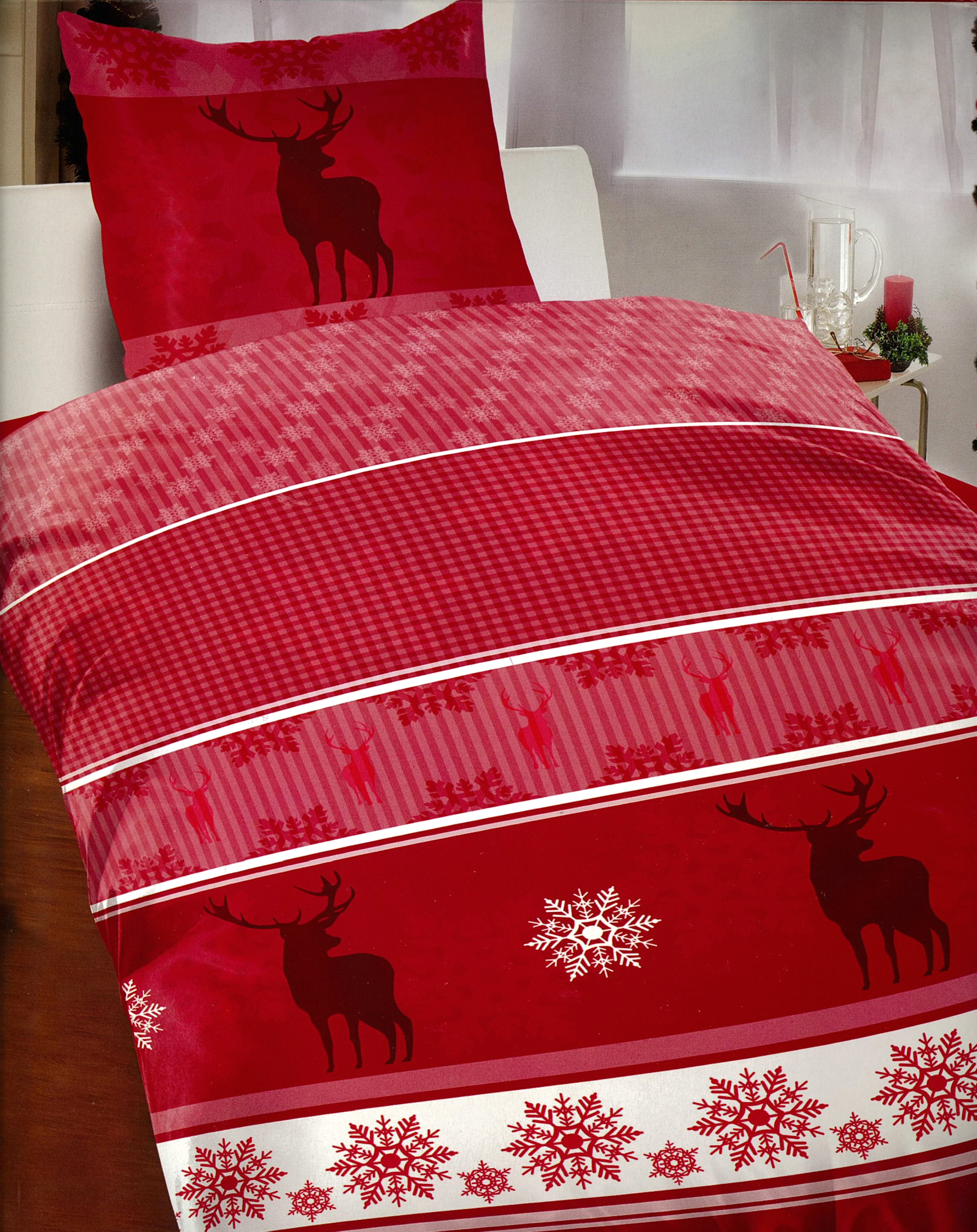 4tlg bettw sche 155x220 flausch fleece winter elch weihnachten in rot wei ebay. Black Bedroom Furniture Sets. Home Design Ideas