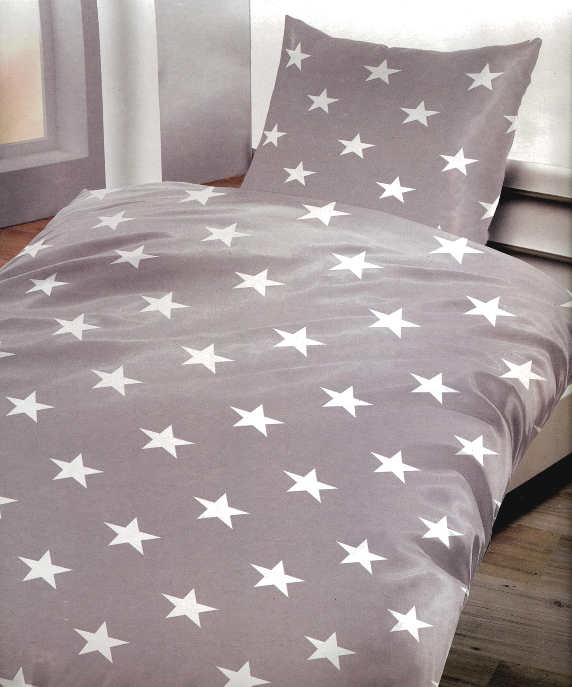 2 tlg bettw sche microfaser 155x220 cm sterne grau wei. Black Bedroom Furniture Sets. Home Design Ideas