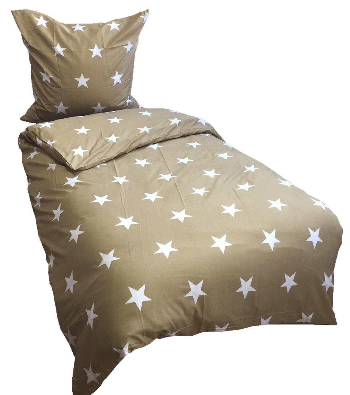 2 tlg bettw sche microfaser 135x200 cm sterne beige wei garnitur. Black Bedroom Furniture Sets. Home Design Ideas