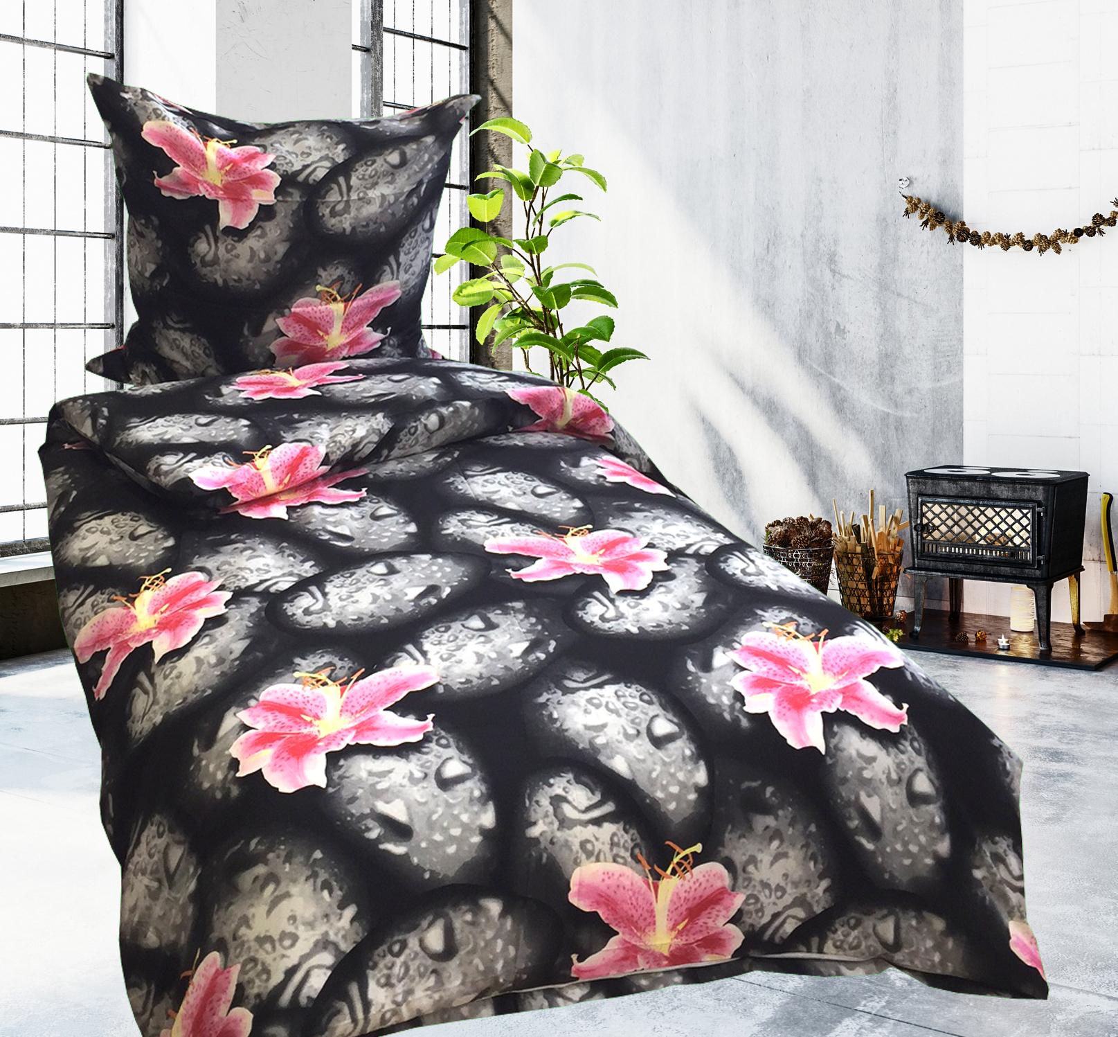 4 tlg bettw sche microfaser 135x200 cm blumen steine schwarz pink doppelpack. Black Bedroom Furniture Sets. Home Design Ideas