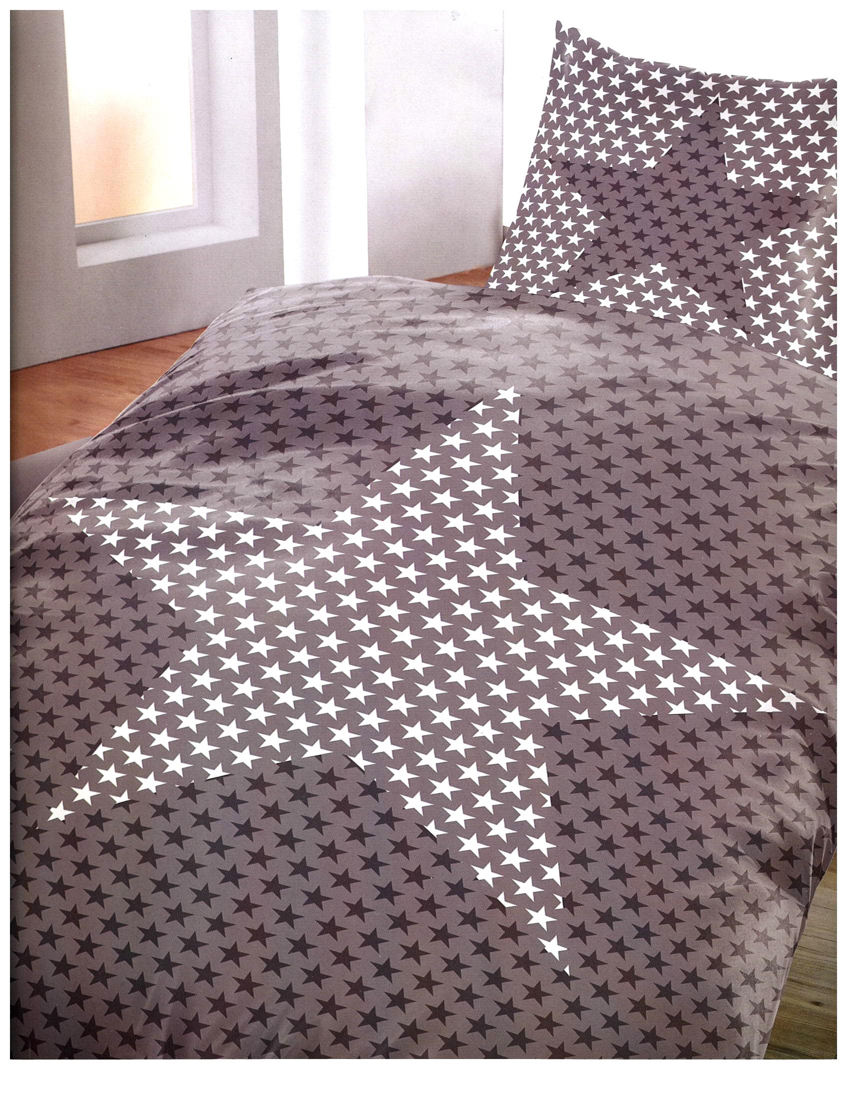 4 tlg bettw sche microfaser 135x200 cm sterne grau wei. Black Bedroom Furniture Sets. Home Design Ideas
