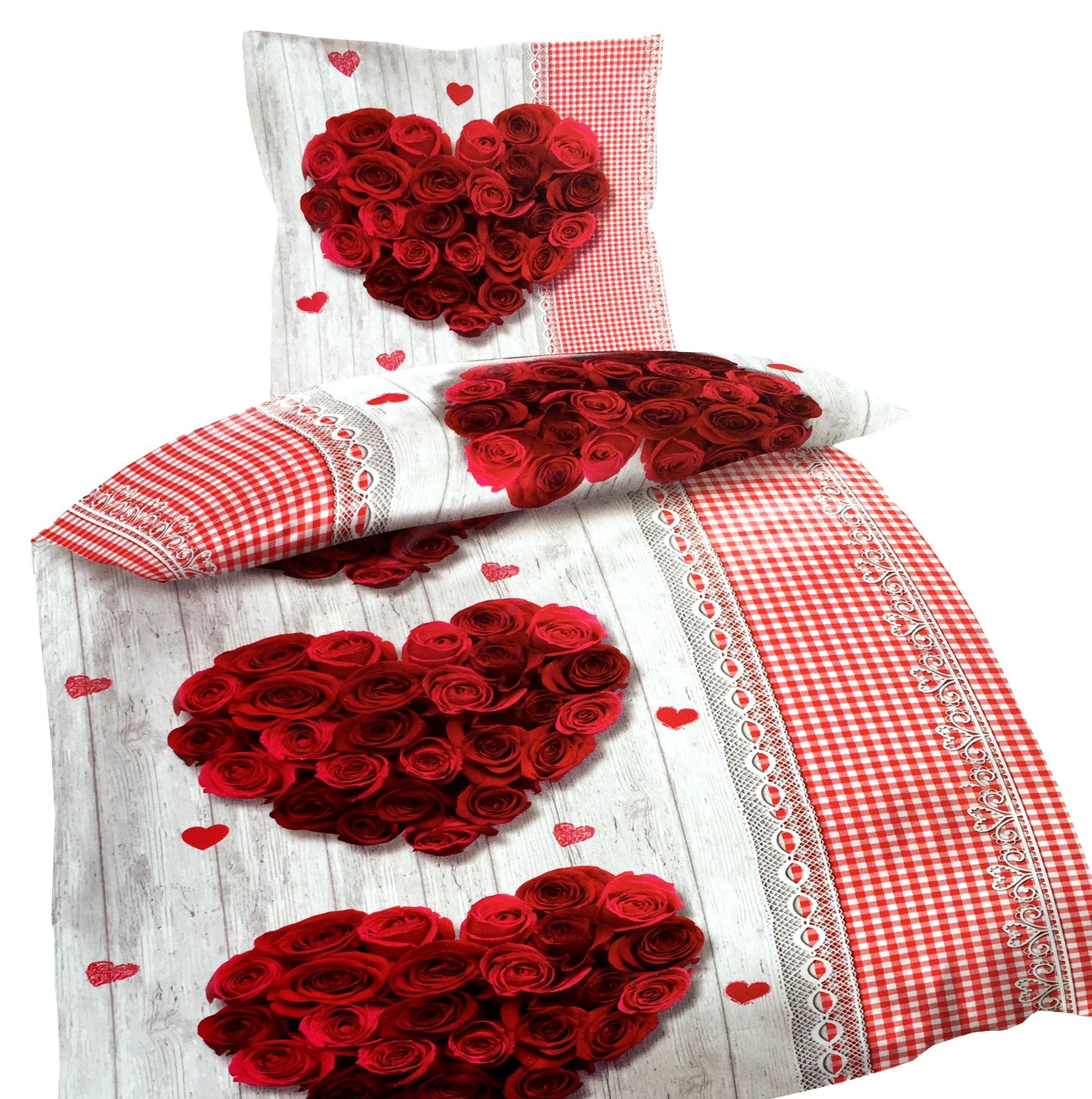 5 tlg baumwolle renforc bettw sche 135x200 cm herzen holzoptik rosen rot laken ebay. Black Bedroom Furniture Sets. Home Design Ideas
