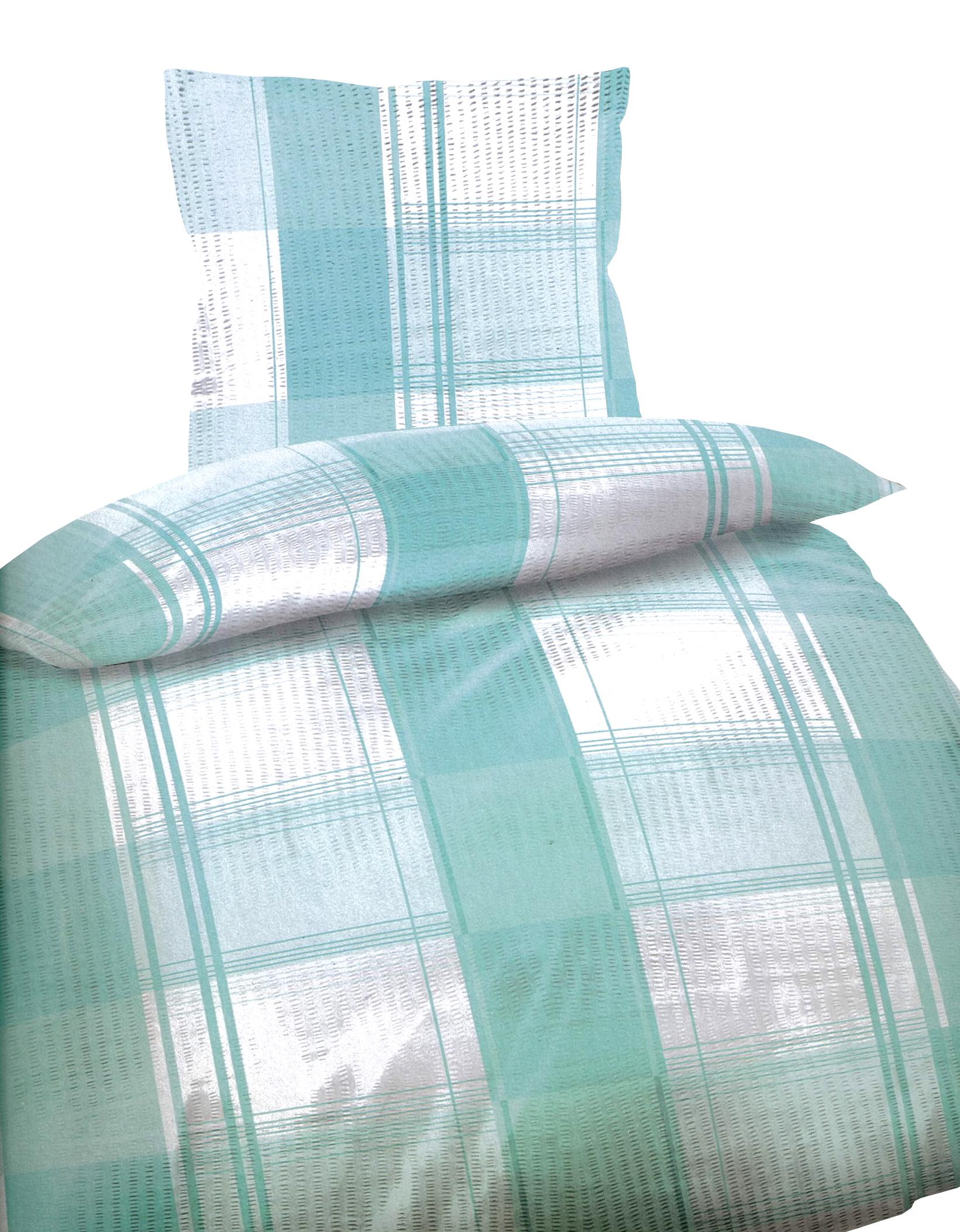 4 tlg bettw sche microfaser seersucker 135x200 cm gestreift t rkis wei doppelpack. Black Bedroom Furniture Sets. Home Design Ideas