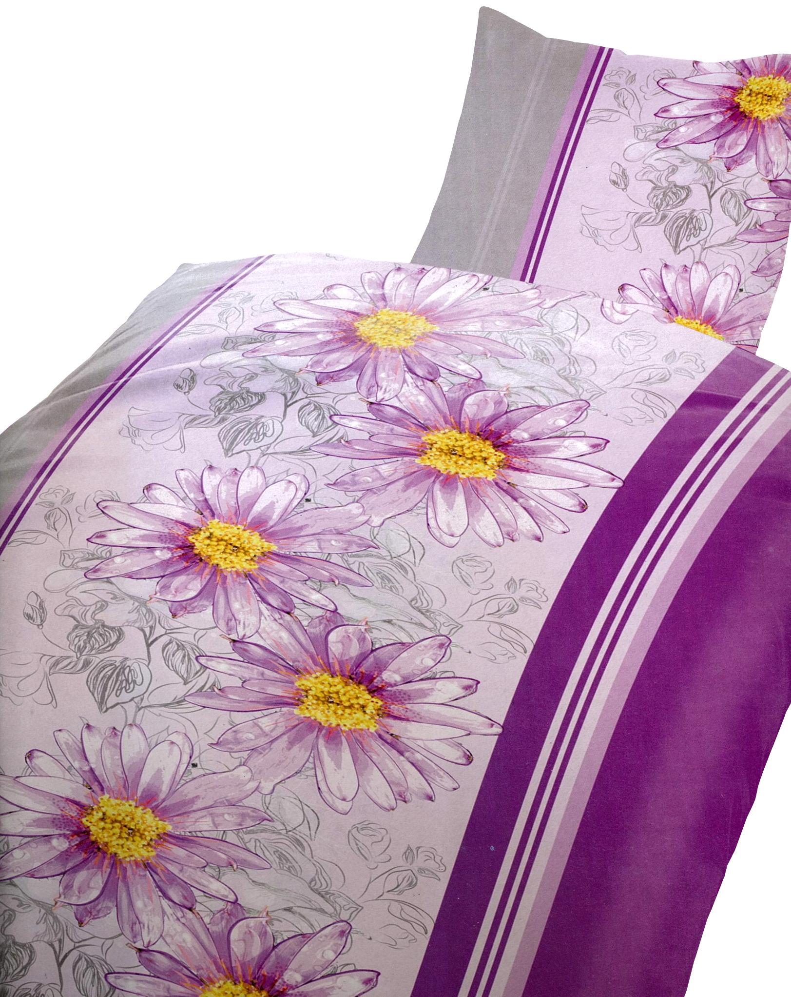 2 tlg bettw sche microfaser 135x200 cm blumen lila rosa gestreift bezug set ebay. Black Bedroom Furniture Sets. Home Design Ideas
