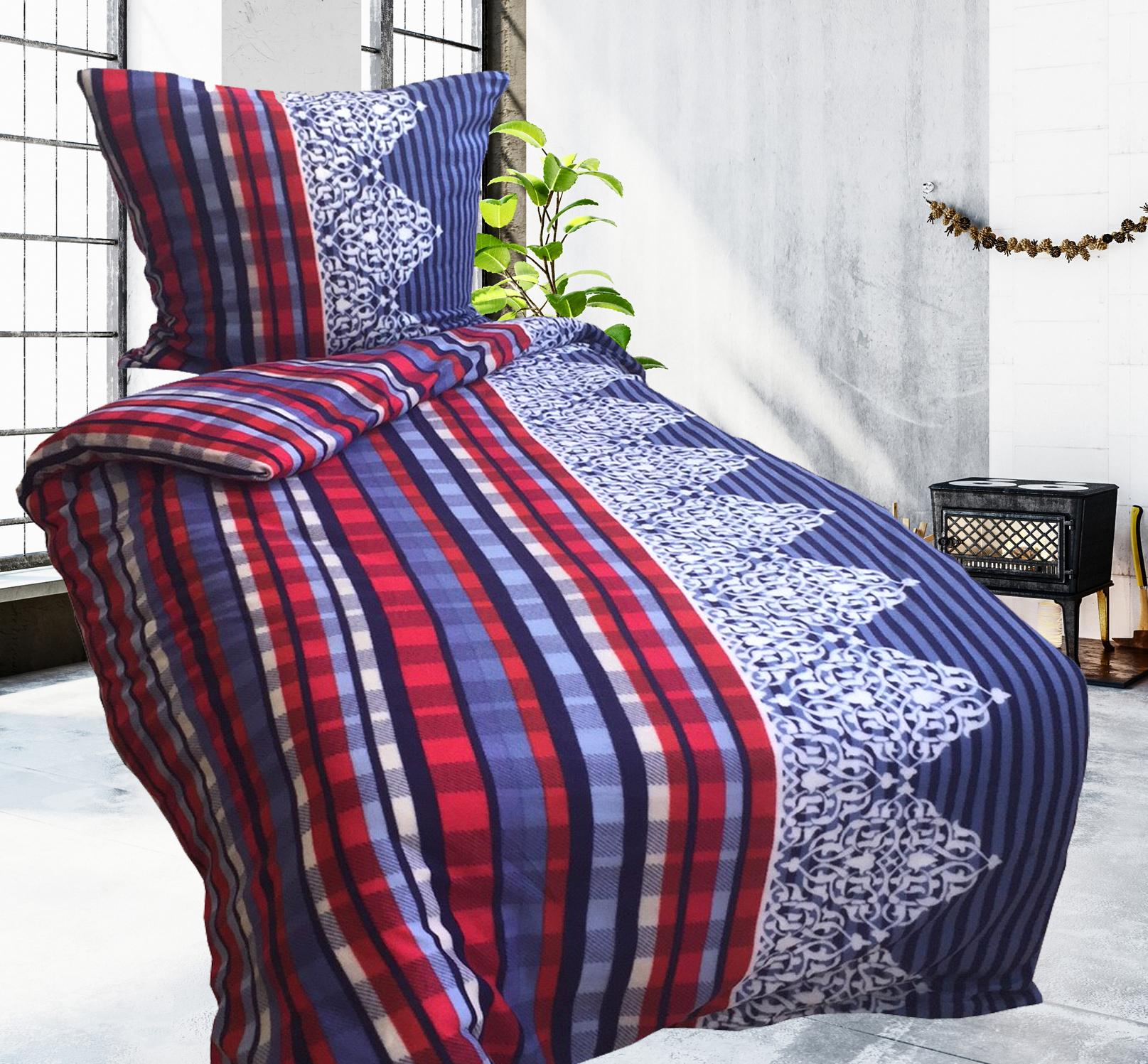 3tlg bettw sche fleece 135x200cm blau rot warm kuschelig mit laken 140 160x200cm ebay. Black Bedroom Furniture Sets. Home Design Ideas