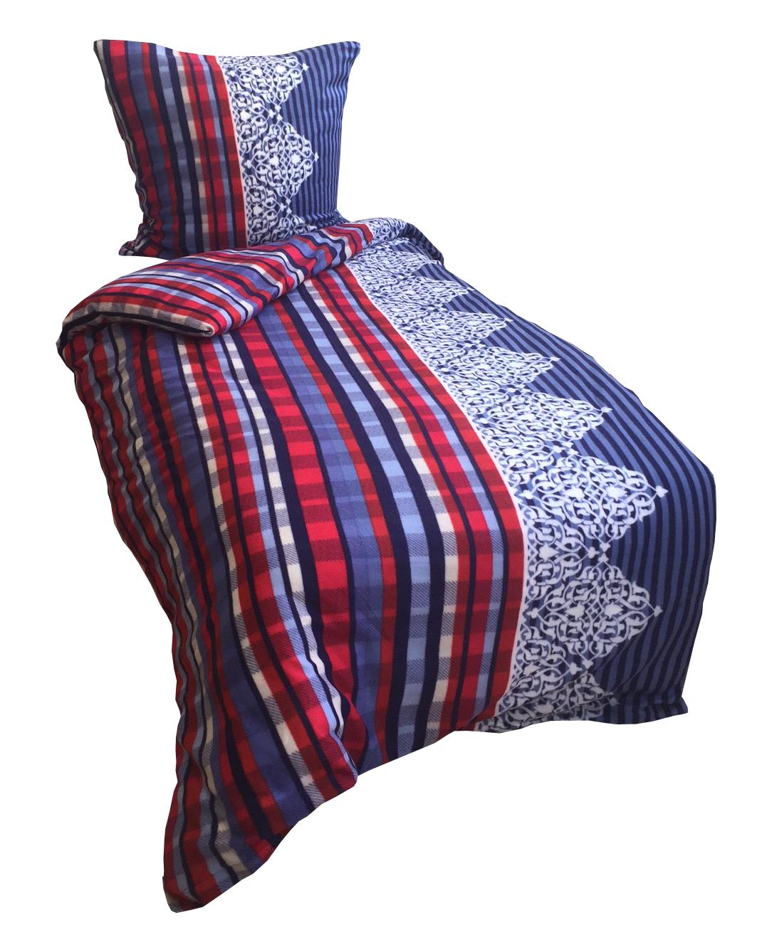 3tlg bettw sche fleece 135x200cm blau rot warm kuschelig mit laken 140 160x200cm 4260273083957. Black Bedroom Furniture Sets. Home Design Ideas