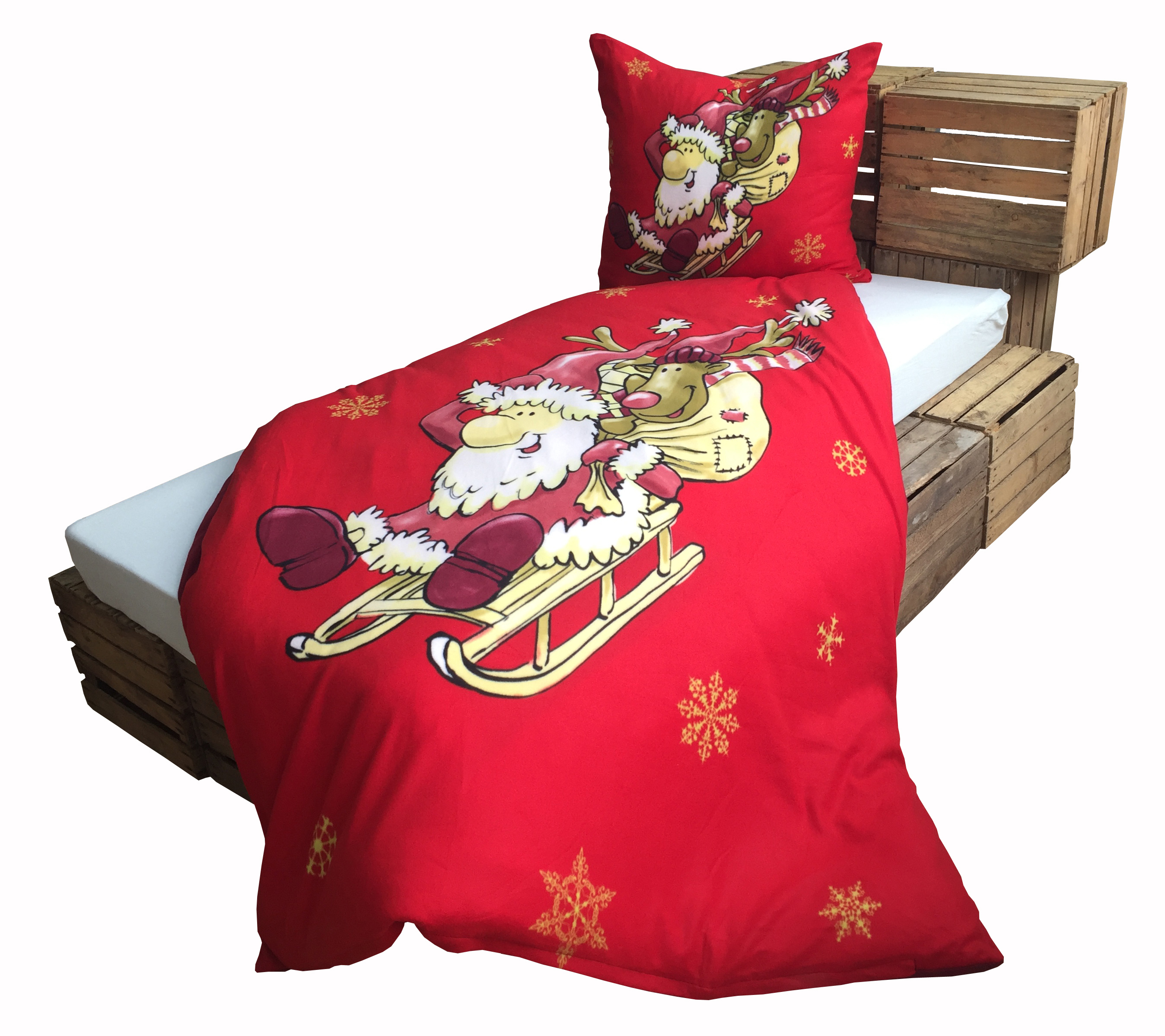 warme thermofleece bettw sche 4 teilig 135x200 cm rot weihnachtsmann wende bettw sche winter. Black Bedroom Furniture Sets. Home Design Ideas