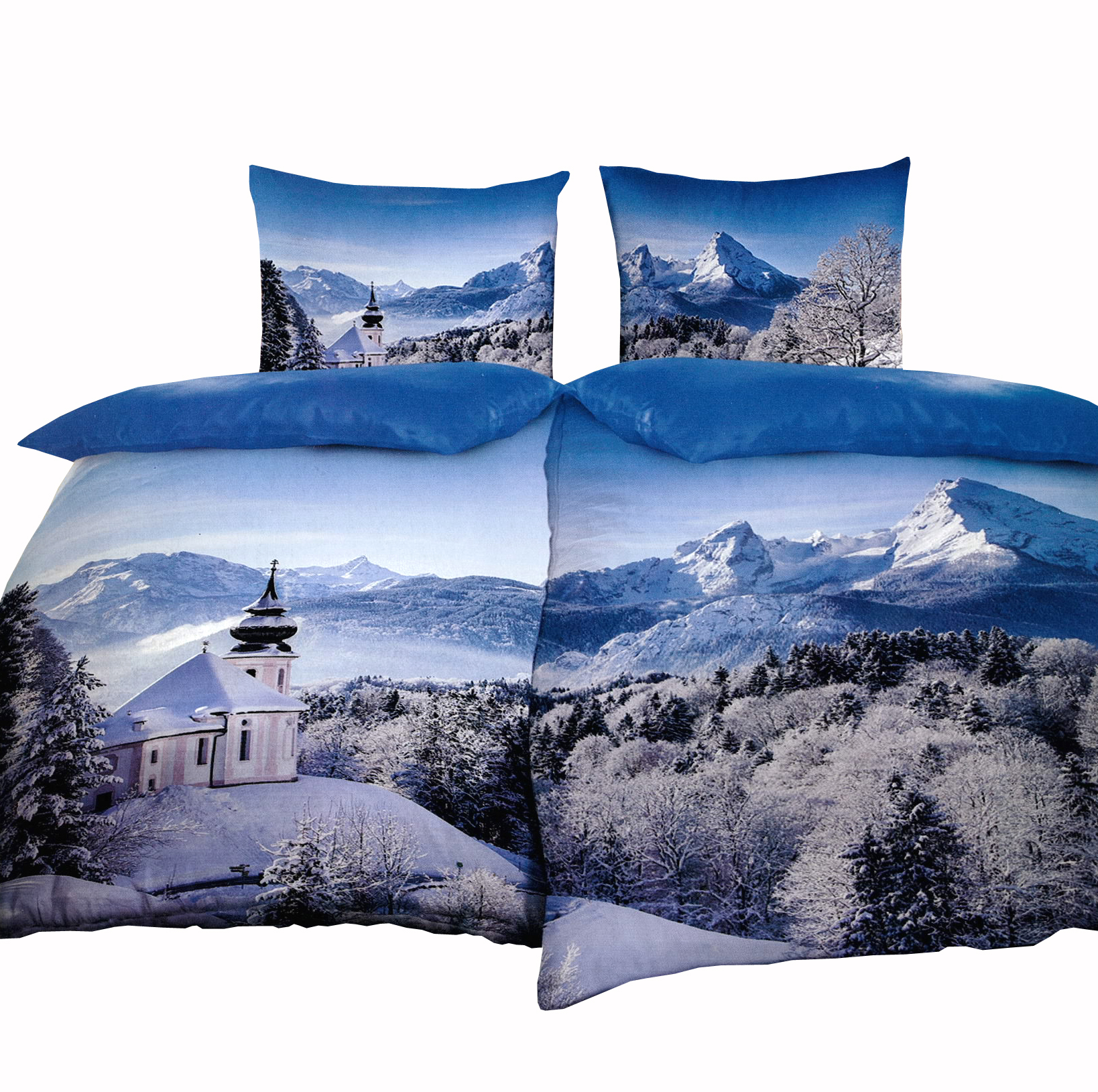 5 tlg partnerbettw sche thermofleece 135x200 cm schneelandschaft kirche berge mit bettlaken 180. Black Bedroom Furniture Sets. Home Design Ideas
