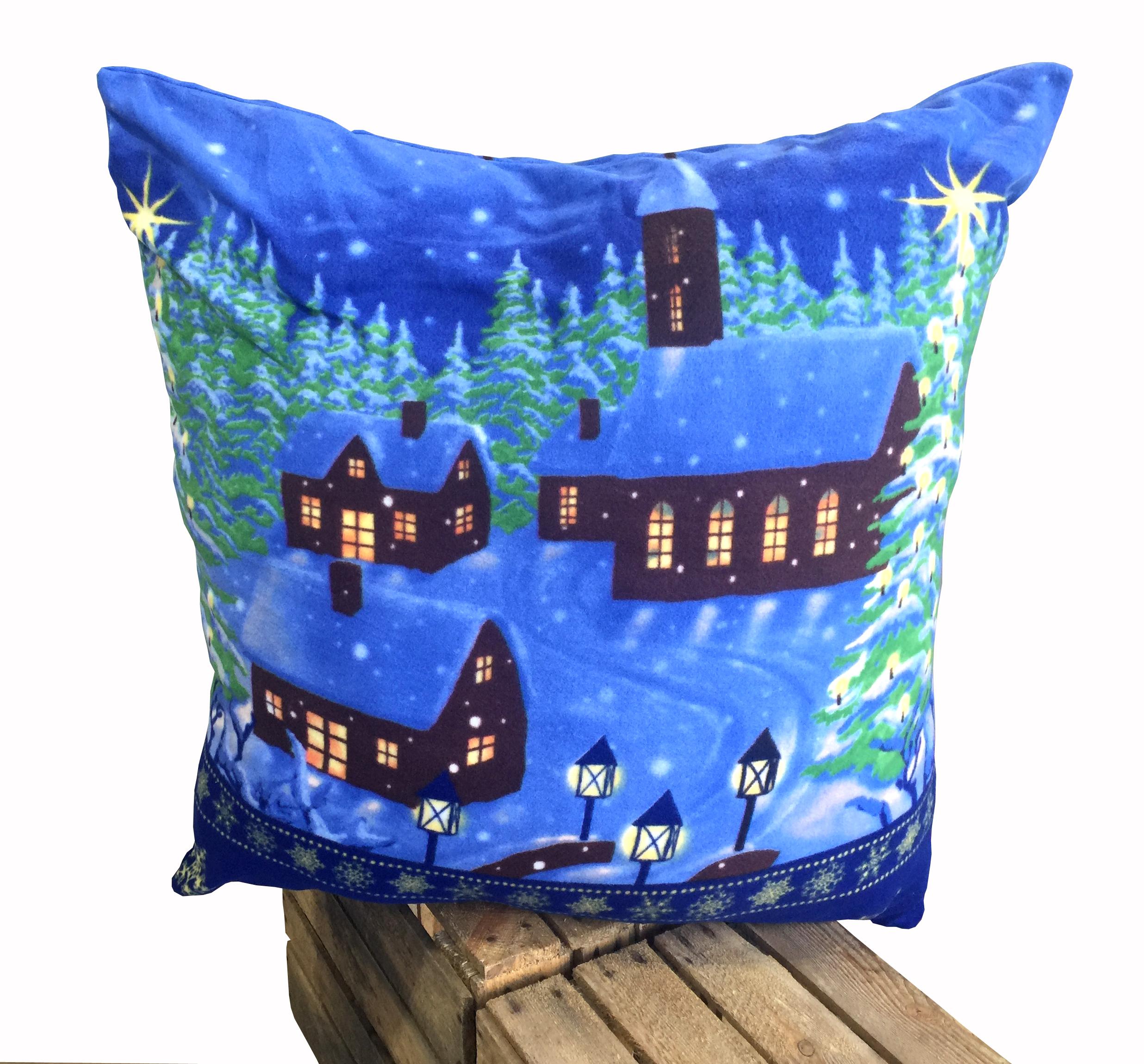 warme thermofleece bettw sche 2 teilig 135x200 cm winterdorf blau schnee wende bettw sche winter. Black Bedroom Furniture Sets. Home Design Ideas