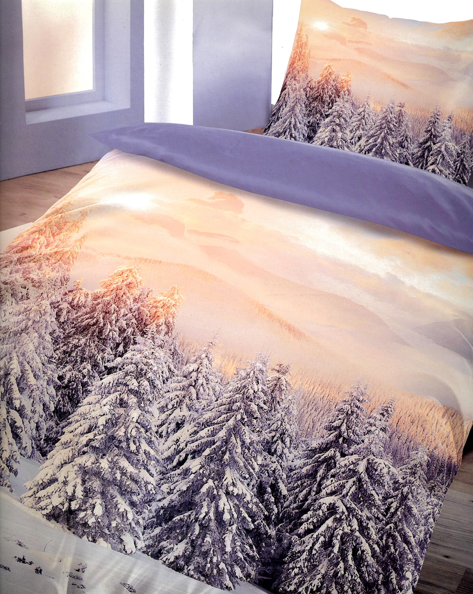 3tlg bettw sche fleece 135x200cm schnee tannen wald warm. Black Bedroom Furniture Sets. Home Design Ideas