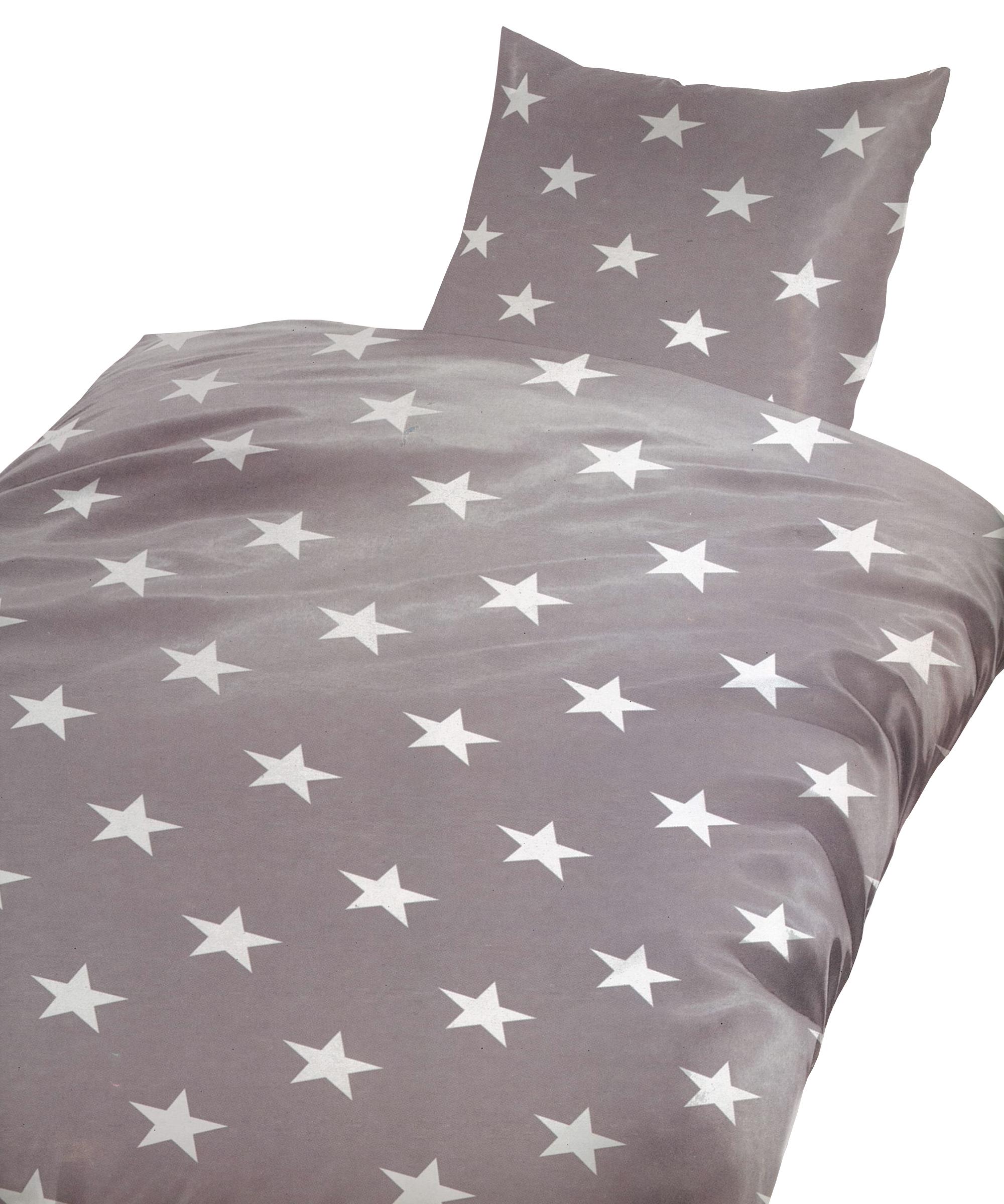 5 tlg baumwolle biber bettw sche 135x200cm sterne grau. Black Bedroom Furniture Sets. Home Design Ideas