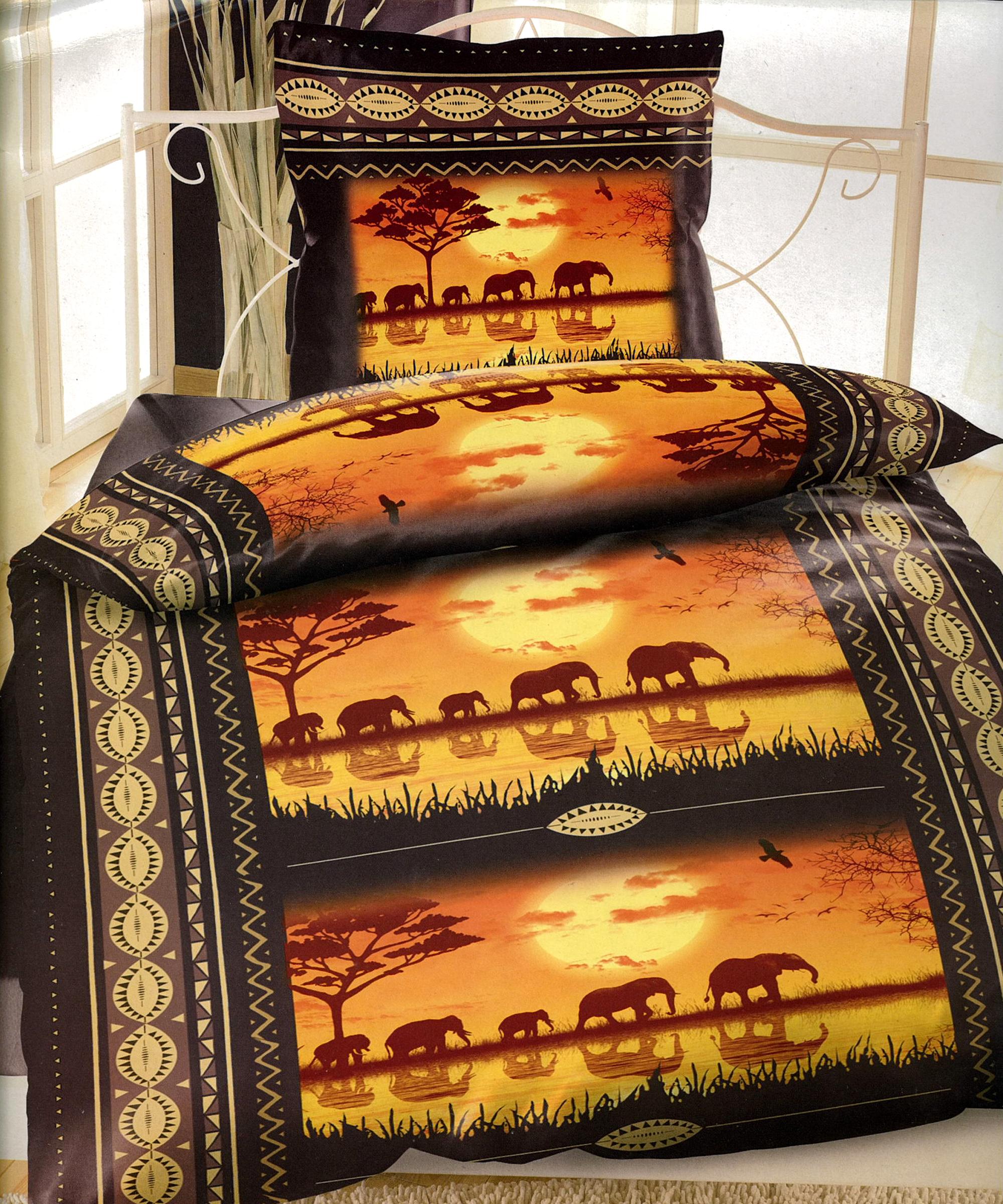 3 tlg baumwolle biber bettw sche 135x200 afrika elefanten bettlaken 90 100x200 ebay. Black Bedroom Furniture Sets. Home Design Ideas