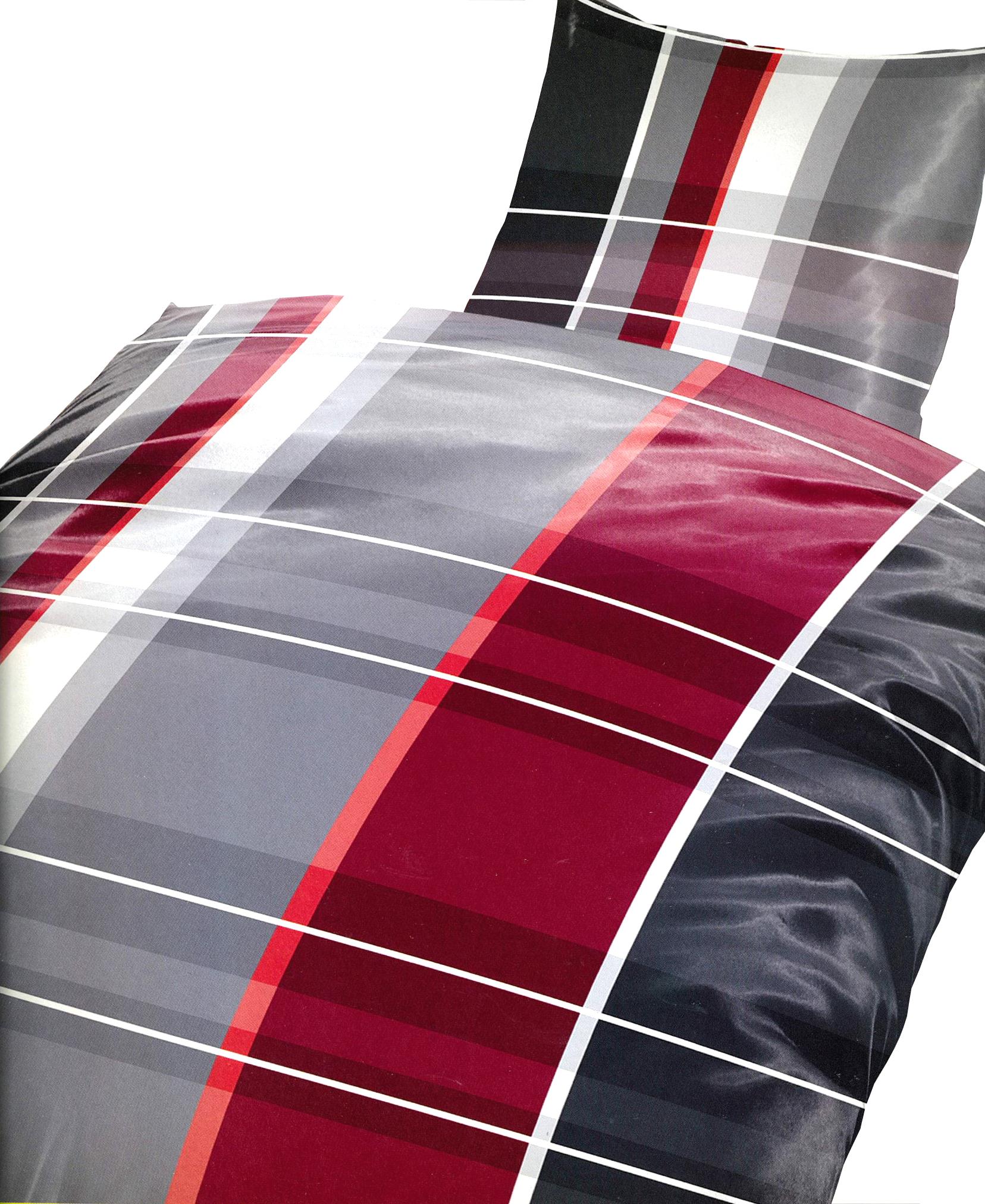5 tlg baumwolle biber bettw sche 135x200 cm rot grau mit bettlaken 140 160x200cm ebay. Black Bedroom Furniture Sets. Home Design Ideas