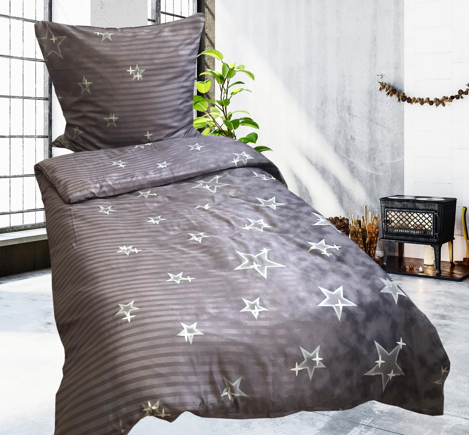 2 tlg bettw sche microfaser 135x200 cm sterne grau neu. Black Bedroom Furniture Sets. Home Design Ideas