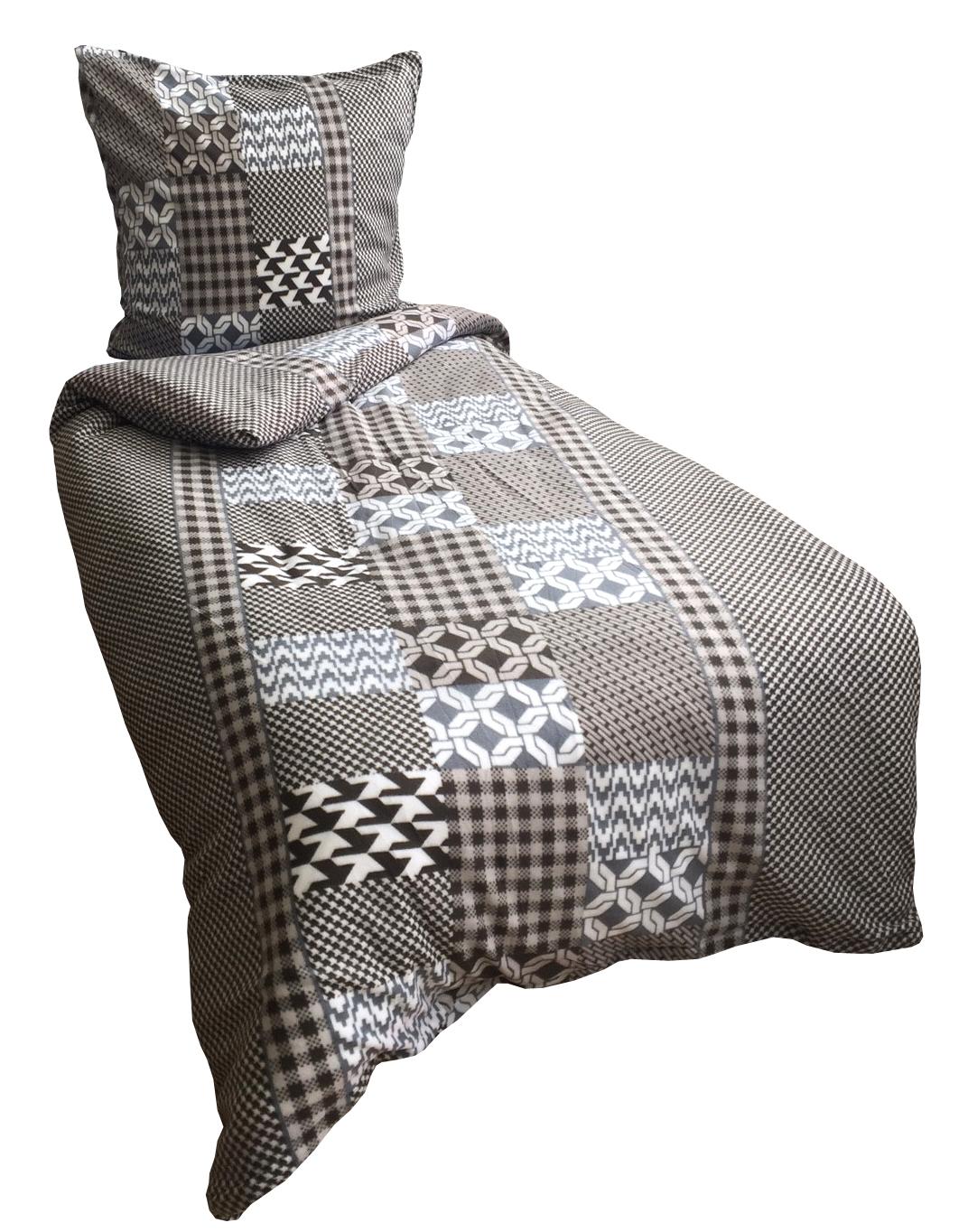 2 tlg thermofleece bettw sche 135x200 cm grau wei. Black Bedroom Furniture Sets. Home Design Ideas