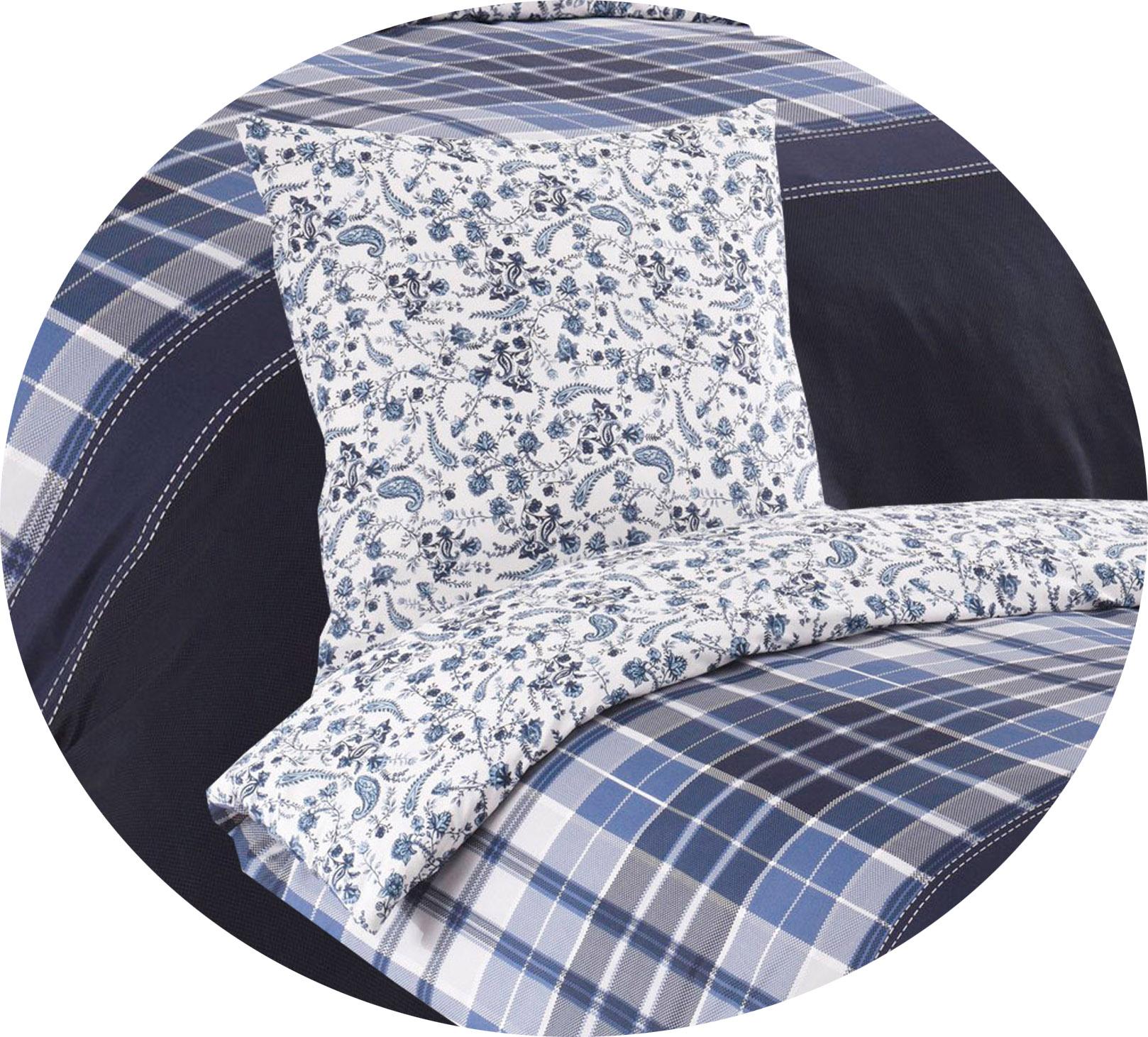 Bettwäsche 135x200 80x80 Cm Baumwolle Renforce Blau Weiß Geblümt