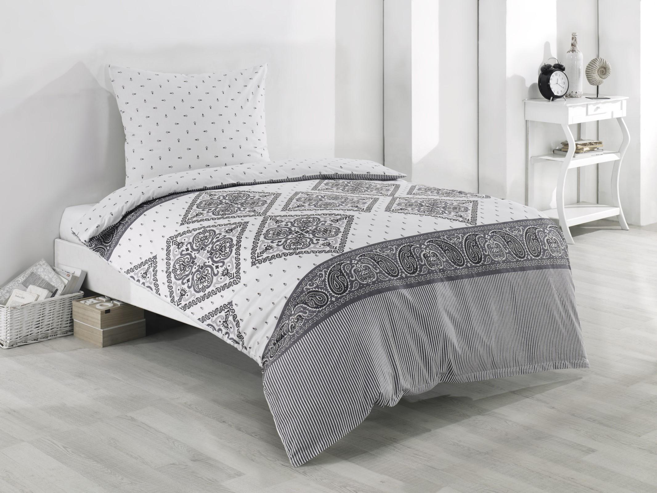 Bettwäsche 135x200 80x80 Cm Baumwolle Renforce Weiß Grau Ornamente Mit Reißverschluss