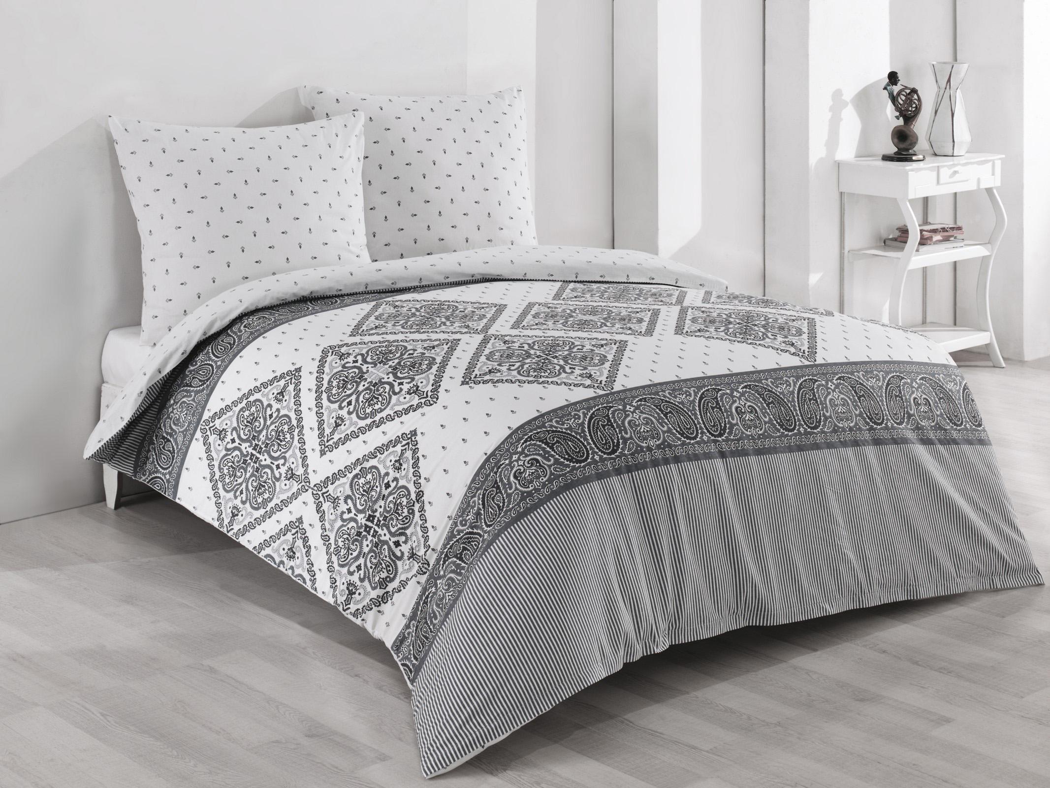 Bettwäsche 200x200 2x 80x80 Cm Baumwolle Renforce Weiß Grau