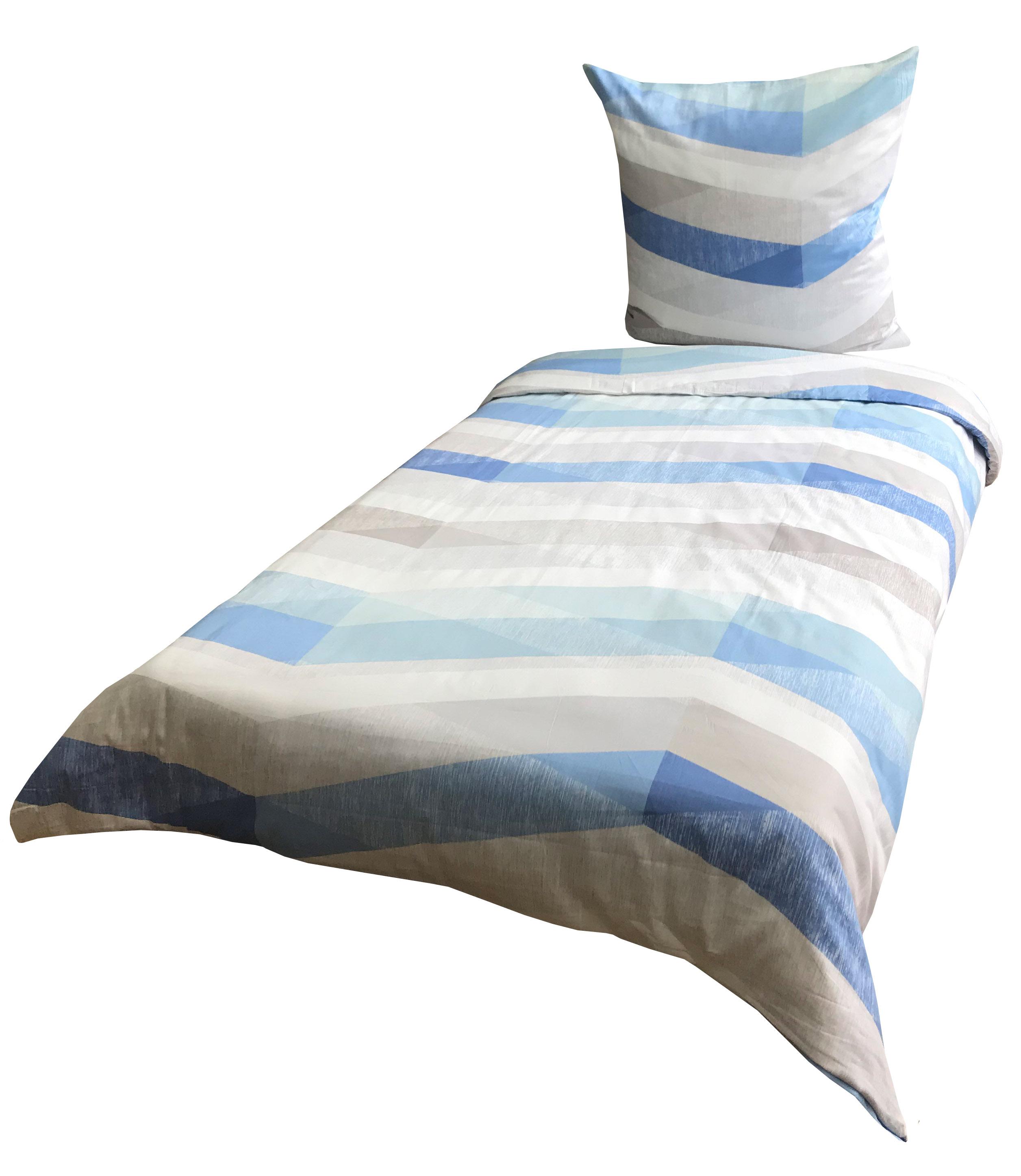 Baumwolle Satin Bettwäsche 135x200 cm grau blau Streifen mit Reißverschluss
